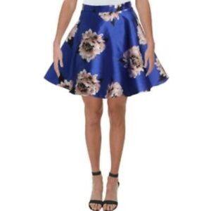 City Studio Blue A-Line Mini Floral Skirt US 5